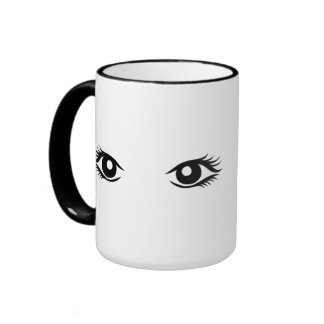 Woman eyes mugs