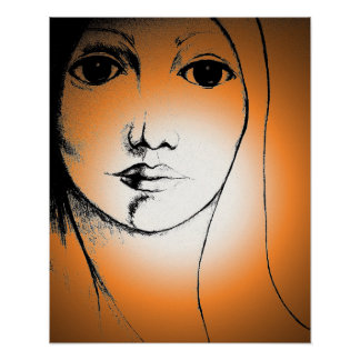 """WOMAN FACE DRAWING 16"""" X 20"""" Poster"""