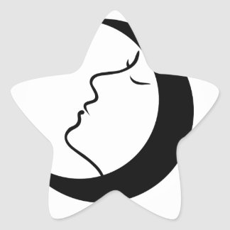 Woman face inside a moon with her eyes closed star sticker