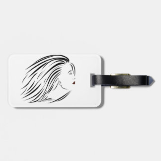woman face luggage tag