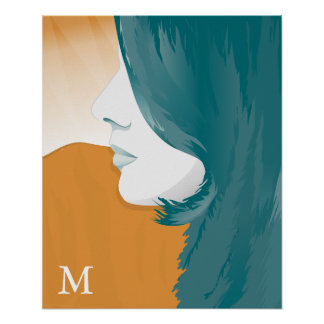 Woman Face Silhouette with Monogram Poster