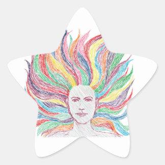 woman face star sticker