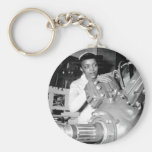 Woman Factory Worker with Aircraft Engine Basic Round Button Keychain