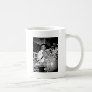 Woman Factory Worker with Aircraft Engine Coffee Mug