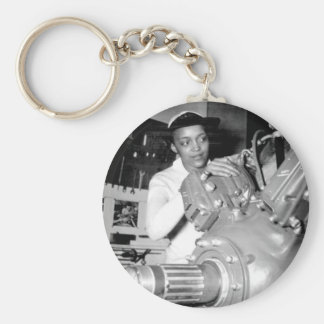 Woman Factory Worker with Aircraft Engine Keychain