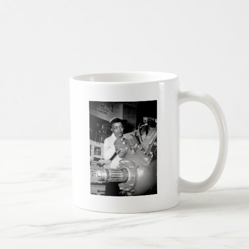 Woman Factory Worker with Aircraft Engine Coffee Mugs