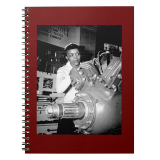 Woman Factory Worker with Aircraft Engine Notebook