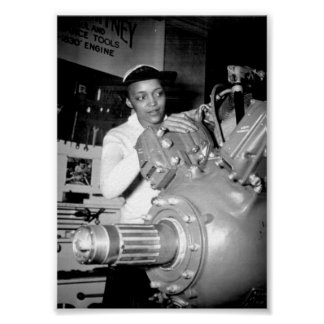 Woman Factory Worker with Aircraft Engine Poster