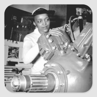 Woman Factory Worker with Aircraft Engine Square Sticker