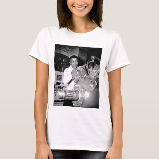 Woman Factory Worker with Aircraft Engine T-Shirt