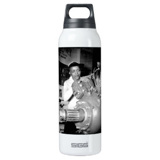 Woman Factory Worker with Aircraft Engine Thermos Bottle