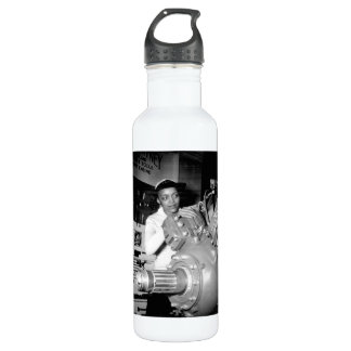 Woman Factory Worker with Aircraft Engine Water Bottle