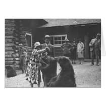 Woman feeding bears with a group of people in fron cards