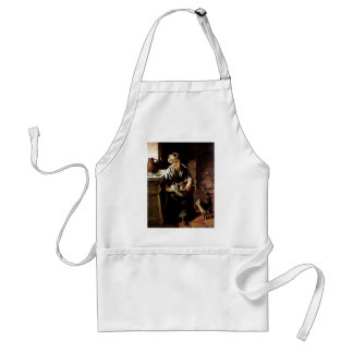 Woman feeding cats antique  painting adult apron