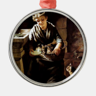 Woman feeding cats antique  painting christmas tree ornament