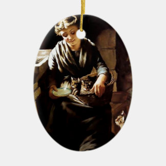 Woman feeding cats antique  painting ornament