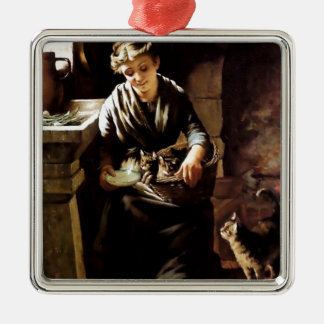 Woman feeding cats antique  painting christmas tree ornaments
