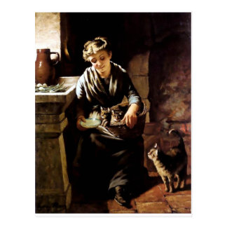 Woman feeding cats antique  painting postcard