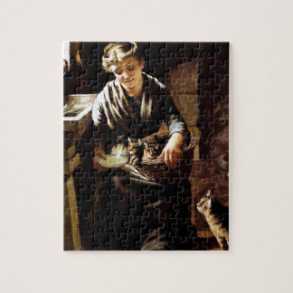 Woman feeding cats antique painting puzzle