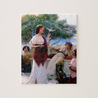 Woman Feeding Dove antique painting Jigsaw Puzzle