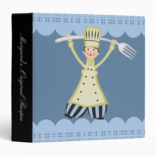 Woman female chef pantaloons fork recipe binder