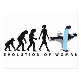 woman female evolution of dentist tarjetas postales