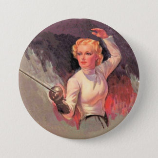 Woman fencer button