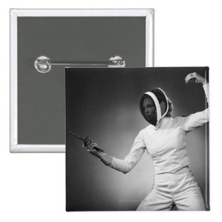 Woman Fencing Button