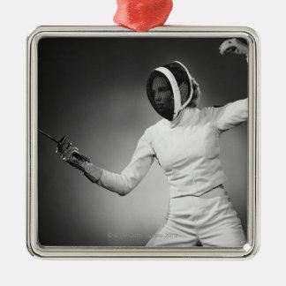 Woman Fencing Metal Ornament