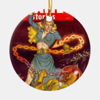 Woman Fighting Monster Ceramic Ornament