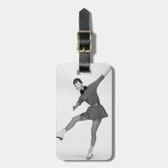 Woman Figure Skating Luggage Tag