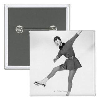 Woman Figure Skating Pinback Button