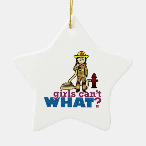 Woman Firefighter Ceramic Ornament