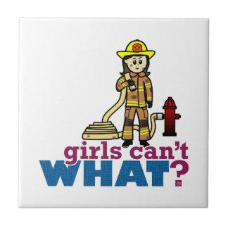 Woman Firefighter Ceramic Tile