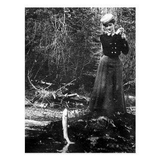 woman fishing postcard
