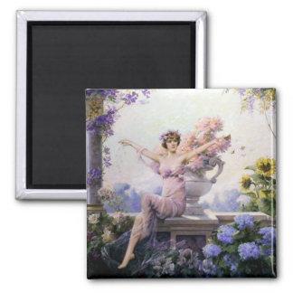 Woman flora flowers romantic sheer dress happy 2 inch square magnet