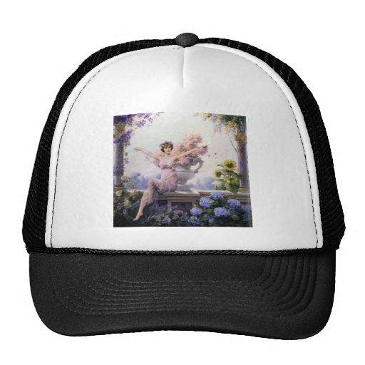 Woman flora flowers romantic sheer dress happy trucker hats