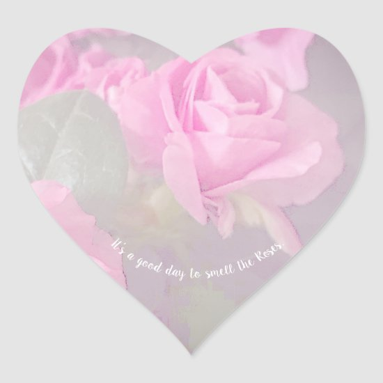 Woman Floral Roses Birthday Design  Heart Sticker