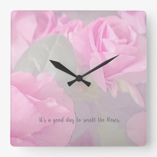 Woman Floral Roses Birthday Design  Square Wall Cl Square Wall Clock