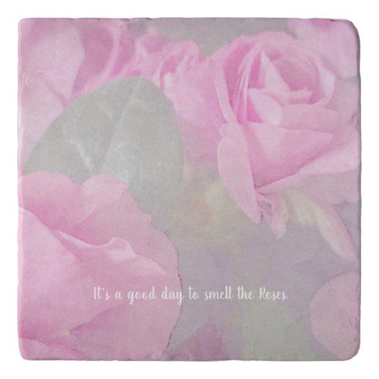 Woman Floral Roses Birthday Design  Trivet
