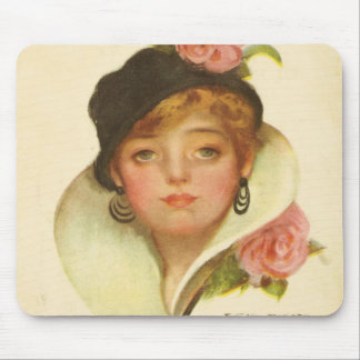 Woman Flower Classy  Vintage Mouse Pad