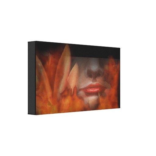 Woman Flower Fire Wrapped Canvas Print