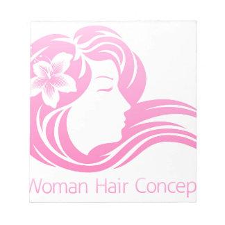 Woman Flower Hair Concept Notepad