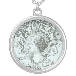 Woman & flowers round pendant necklace