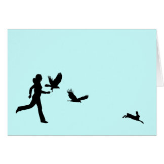Woman Flying Harris Hawks Card