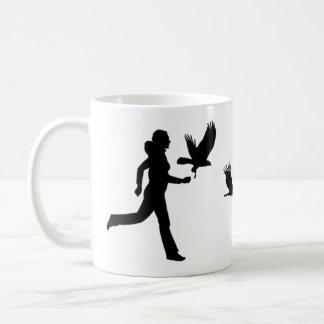 Woman Flying Harris Hawks Coffee Mug
