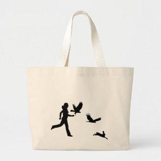 Woman Flying Harris Hawks Large Tote Bag