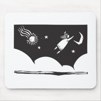 Woman Flying Mouse Pad
