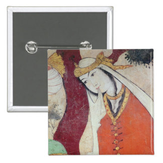 Woman from the Court of Shah Abbas I, 1585-1627 2 Inch Square Button