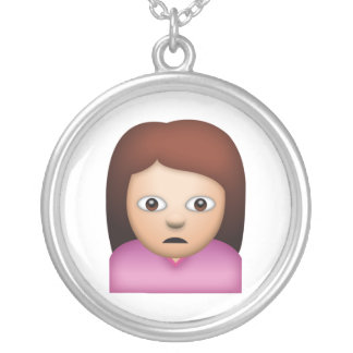 Woman Frowning - Emoji Silver Plated Necklace
